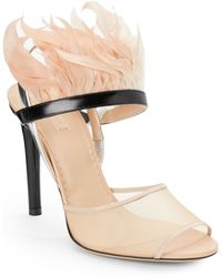 Reed Krakoff Feathertrimmed Leather Mesh Slingbacks - Lyst