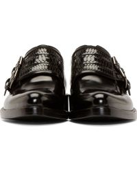 Givenchy Black Leather Monk Strap Shoes - Lyst