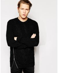 Asos Cable Sweater with Zip - Lyst