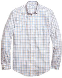 Brooks Brothers Non-iron Slim Fit Orange Twin Check Sport Shirt - Lyst
