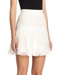 Chloé Silk Crepon Miniskirt white - Lyst