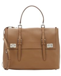 Prada Caramel Leather Buckle Accent Convertible Top Handle Bag - Lyst
