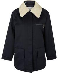 Folk - Navy Misty Fleece Collar Twill Jacket - Lyst