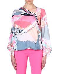Emilio Pucci Printed Silk Top Pink - Lyst
