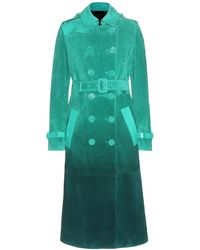 Burberry Prorsum Leather-Trimmed Suede Trench Coat green - Lyst