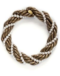 Lanvin - 'virna' Glass Pearl Twist Bracelet - Lyst