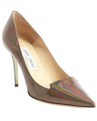 Jimmy Choo Iridescent Silver Patent Leather Pumps - Lyst