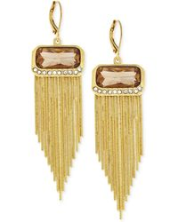 Vince Camuto - Gold-plated Crystal Fringe Earrings - Lyst