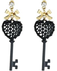 Betsey Johnson Black Hearts Key Drop Earrings - Lyst