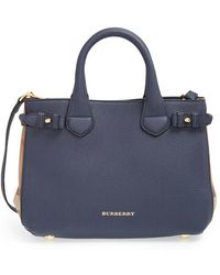 Burberry 'Small Banner' House Check Leather Tote - Lyst