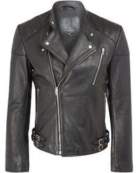 McQ by Alexander McQueen Black Leather Biker Jacket - Lyst