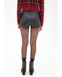 Forever 21 Quilted Faux Leather Shorts - Lyst