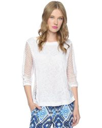 Ella Moss Sage Mesh Side Top - Lyst