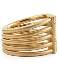Carelle - 18K Moderne 5-Stack Ring With Pave Diamonds - Lyst