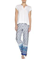 Oscar de la Renta Short-Sleeve Two-Piece Pajama Set - Lyst