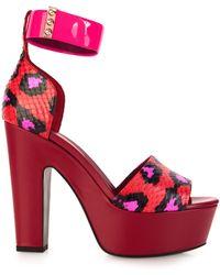 Nicholas Kirkwood Leopard-Print Snakeskin Platform Sandals - Lyst