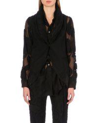 Ann Demeulemeester Sleeveless Unstructured Paisley Wool-blend Coat - Lyst