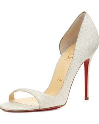 Christian Louboutin Toboggan Glitter Leather Red Sole Pump - Lyst