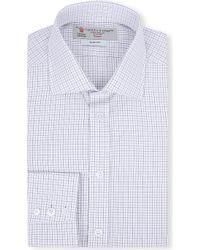 Turnbull & Asser Checked Slim-fit Single-cuff Shirt - Lyst