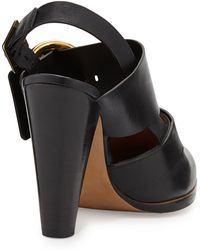 Chloé Triple Buckle Leather Slingback - Lyst