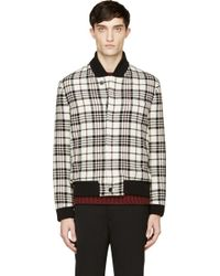 Carven Ivory Plaid Bomber Jacket - Lyst