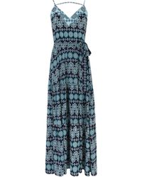 Oasis Tile Patched Maxi Dress blue - Lyst