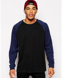Asos Oversized Long Sleeve Tshirt with Contrast Raglan Sleeves - Lyst