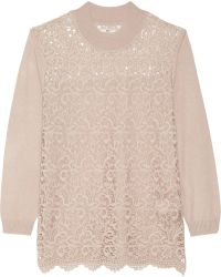 Day Birger Et Mikkelsen Day Flore Lace-paneled Knitted Sweater - Lyst