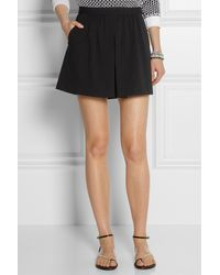 Tibi Oil Slick Pleated Slubjersey Shorts - Lyst