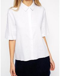 Asos Curved Hem Linen Shirt - Lyst