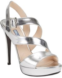 Prada Double Asymmetric-Strap Platform Sandals - Lyst