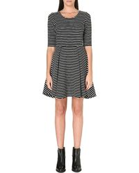 French connection Suki Stripe Dress Blackwhite - Lyst