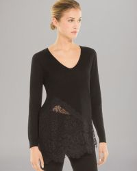 Sandro Top Sagesse Wool Lace Detail - Lyst