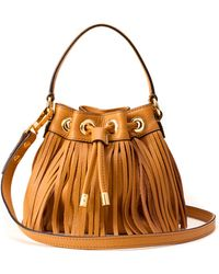 Milly Essex Fringe Small Drawstring brown - Lyst