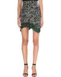 Antonio Berardi Leopard Print Asymmetric Skirt Greenblack - Lyst