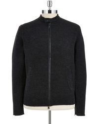 John Varvatos Zip Up Moto Cardigan - Lyst