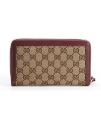 Gucci Beige and Red Ssima Canvas Leather Accent Zipper Continental Wallet - Lyst