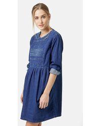 Topshop Embroidered Denim Smock Dress blue - Lyst