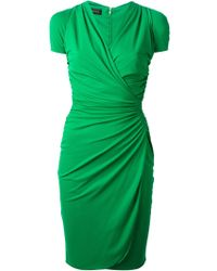 Versace Green Draped Dress - Lyst