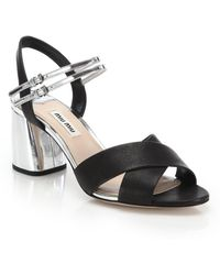 Miu Miu | Crisscross Leather Sandals | Lyst