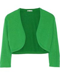 Oscar de la Renta Bolero Cropped Cashmere And Silk-Blend Cardigan - Lyst
