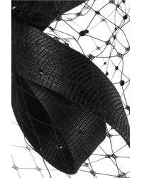 Philip Treacy - Buntal Scroll And Swarovski Crystal-embellished Veiled Headpiece - Lyst