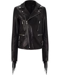 BLK DNM Black Leather Fringe Jacket 10 - Lyst