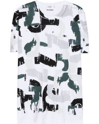 Jil Sander Printed Cotton T-Shirt - Lyst