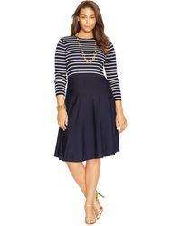 Lauren by Ralph Lauren Striped Crewneck Sweater Dress - Lyst