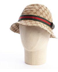 Gucci Beige Cotton Striped Detail Bucket Hat - Lyst