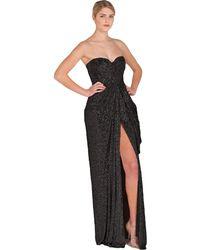Badgley Mischka Strapless Sequin Slit Evening Gown - Lyst