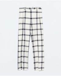 Zara Checked Wide-Leg Trousers blue - Lyst