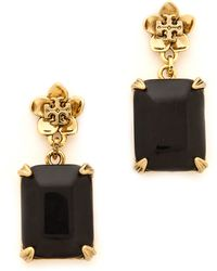 Tory Burch Cecily Drop Earrings Midnight Blueantiqued Gold - Lyst