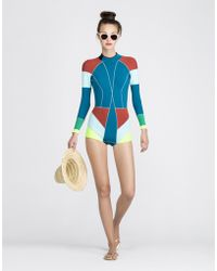Cynthia Rowley Colorblock Wetsuit blue - Lyst